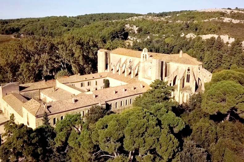 Vue aérienne de l'Abbaye de valmagne de style gothique entourée de pins, verdure et collines
