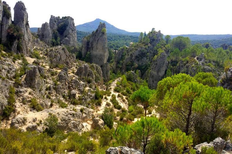 vue du cirque de mourèze avec des roches de différentes formes et des sapins